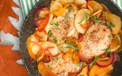 Schab duszony z jabłkami cebulą